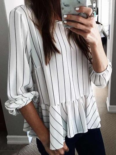 Fashion Stripe Falbala Long sleeve Blouses