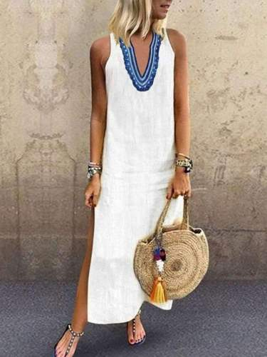 Casual v-neck print sleeveless maxi dress