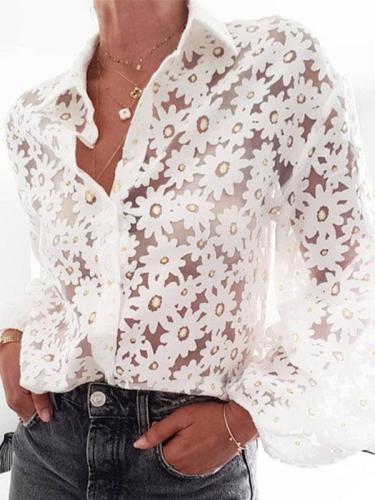 Women floarl printed white turn down long sleeve blouses
