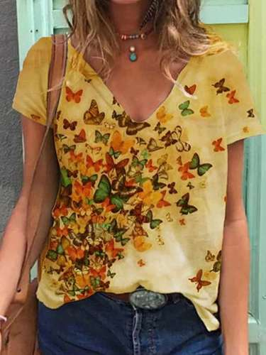 Fashion Casual  Butterfly print V neck Short sleeve T-Shirts
