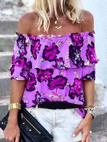 Women chic floral printed off shoulder Blouses
