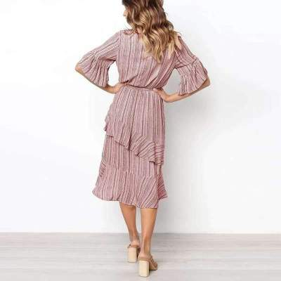 Fashion Stripe Half sleeve Lacing  Falbala Skater Dresses