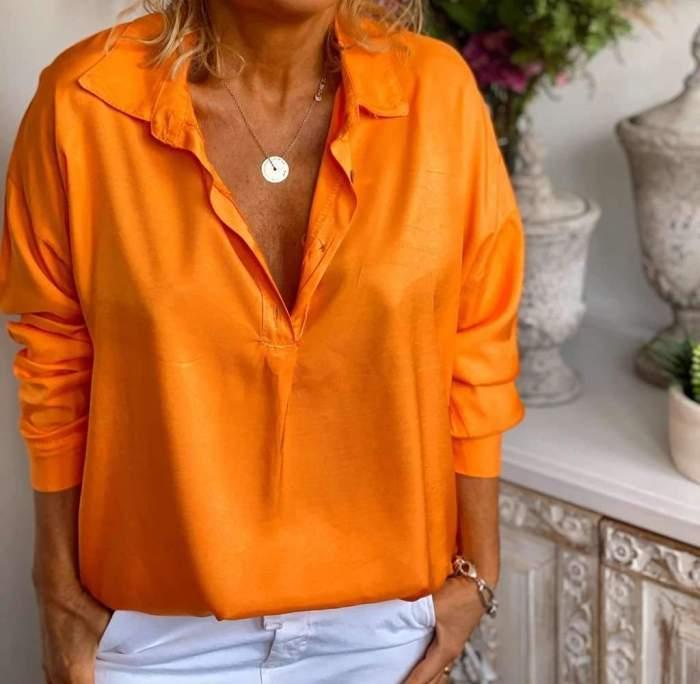 Fashion Casual Pure Lapel Long sleeve Blouses