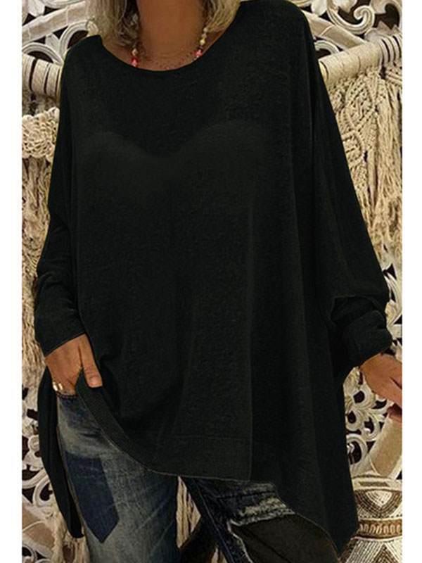 Loose women plain round neck long sleeve T-shirts