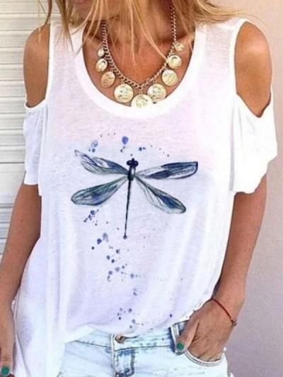 Casual Print Off shoulder Round neck Short sleeve T-Shirts