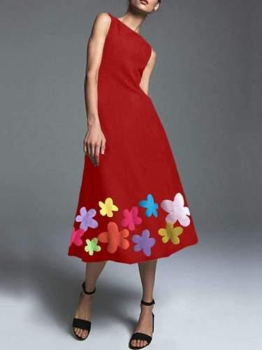 Bohemian round neck Elegant Flower Print Skater Dresses