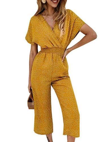 Fashion Wave Pot V Neck Short Sleeve Jumpsuits