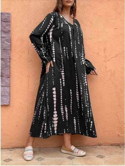 Casual Loose Stripe V neck Long sleeve Maxi Dresses
