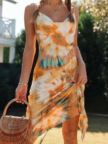 Sexy Vest Print Backless Shift Dresses