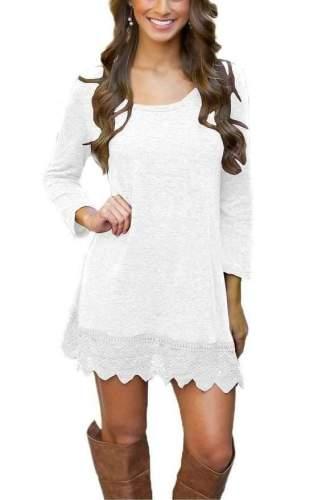 Fashion Loose Lace Long sleeve Shift Dresses
