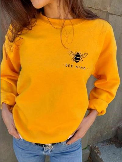 Fashion Casual Bee print Round neck Long sleeve Sweatshirts
