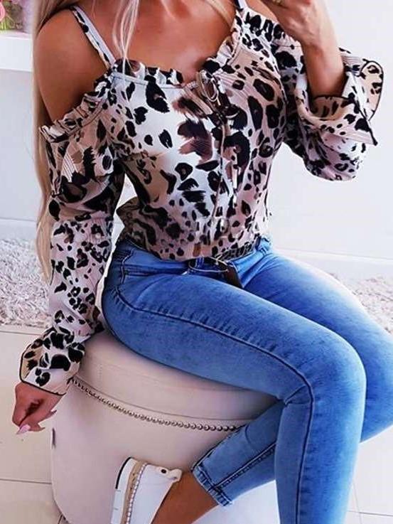 Fashion Leopard print Vest Long sleeve Off shoulder T-Shirts