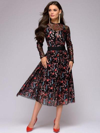 Women lace printed long sleeve skater dresses