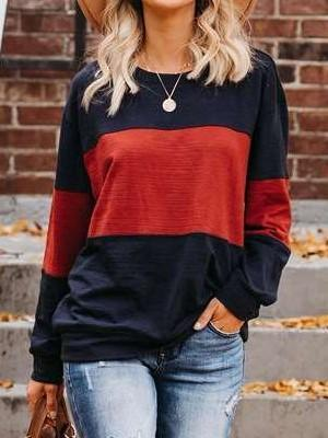 Fashion Casual Gored Round neck Long sleeve T-Shirts