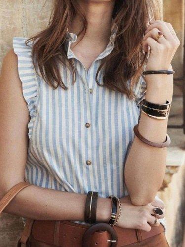 Fashion Stripe Stand collar Sleeveless Falbala Blouses
