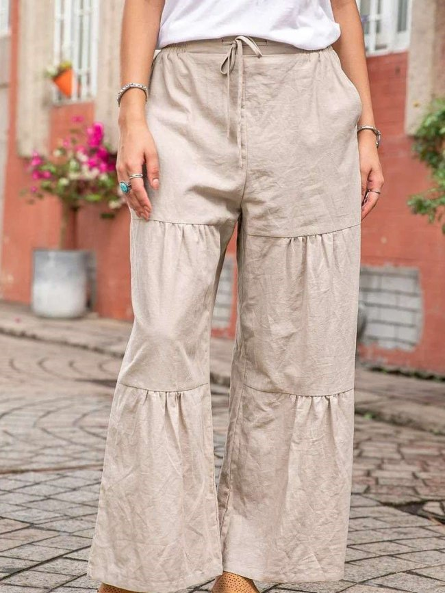 Casual Loose Pure Gored Lacing Pants
