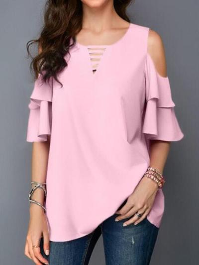 Round collar off shoulder flared sleeves loose chiffon T-shirts