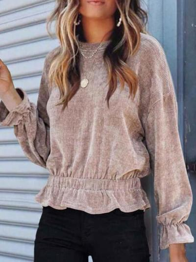 Casual corduroy long-sleeved T-shirts