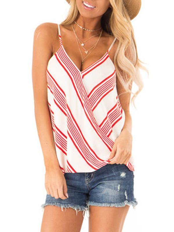 Stripe printed strap women summer v neck vests