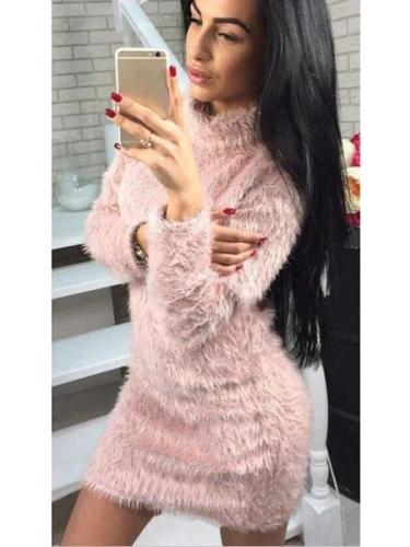 Plush High collar Long sleeve Sweaters