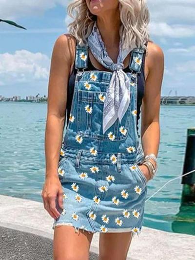 Fahion Print Jean Vest Shift Dresses
