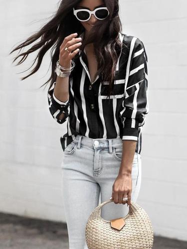 Stripe printed long sleeve women blouses