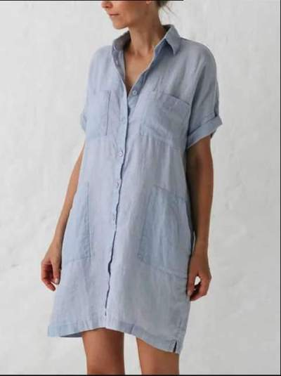 Fashion Pure Lapel Pocket Short sleeve Shift Dresses
