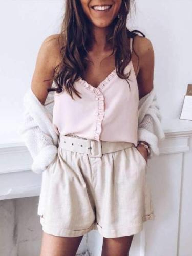 Sexy Backless Falbala  Fastener Vests