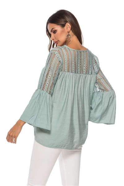 Fashion Cutout Lace Blouses