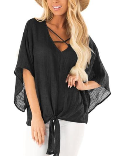 Plain V Neck Flare Sleeve Knot Casual Blouses