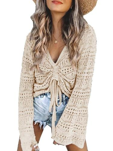 Women hollow out fashion v neck long sleeve sweaters