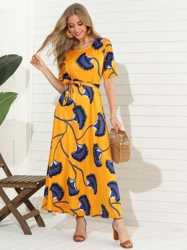 Fashiuon Print Round neck Short sleeve Lacing Maxi Dresses