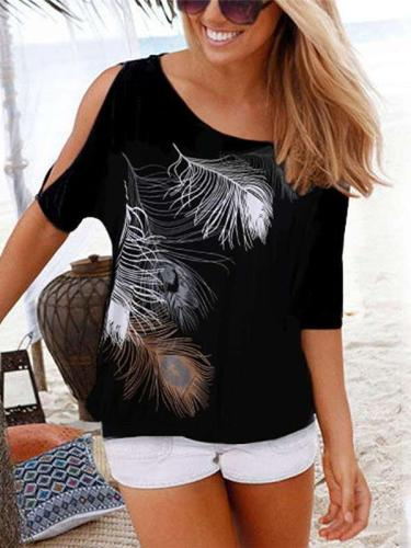 Off shoulder Sexy Print Round neck T-Shirts