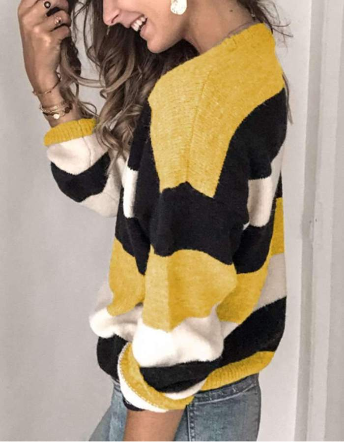 Fashion Casual Stripe Round neck Long sleeve Knit Sweaters