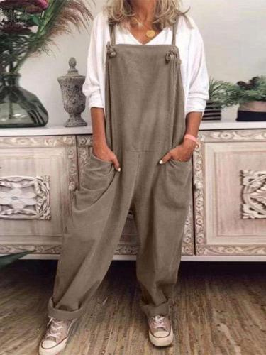 Casual Loose Pure Vest Pocket Jumpsuits
