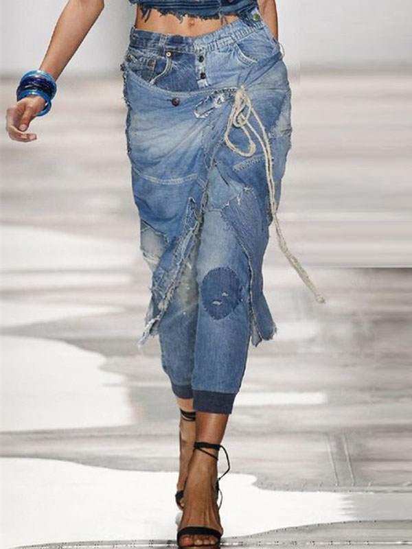 Stylish denim blue long pants for women