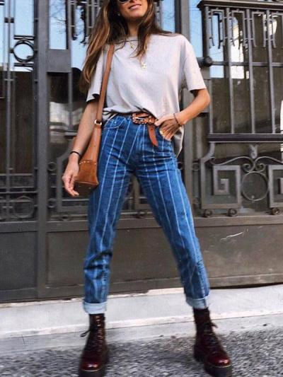 New fall fashion style stretch button jeans women pants