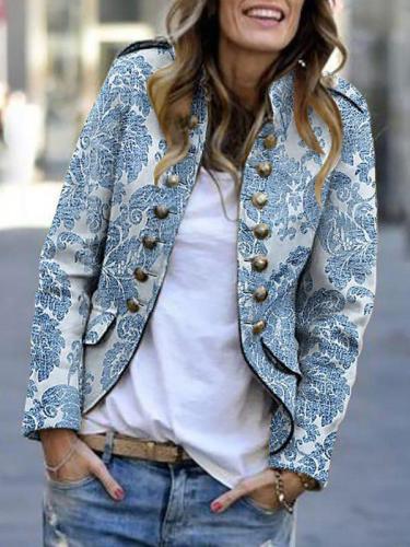 Women fashion printed long sleeve button blazer coats