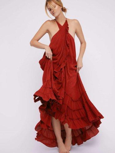 Fashion Casual Sexy Pure Halter Sleeveless Falbala Maxi Dresses