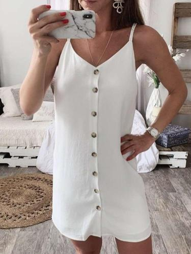 Fashion Vest Single breasted Shift Dresses