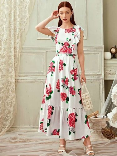 Fashion Print Round neck Falbala  Maxi Dresses Suit