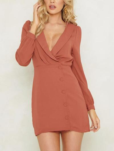 V-neck button-down long sleeves OL Elegant Bodycon Dresses