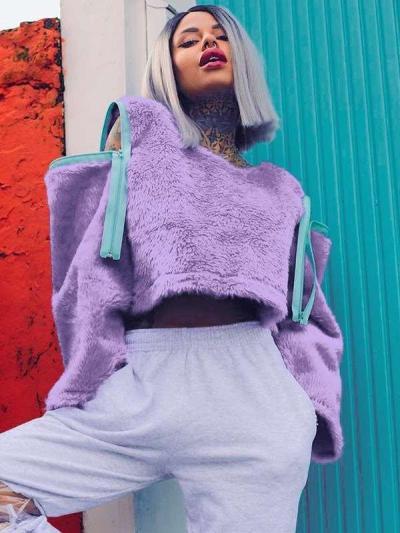 Fashion Zipper Plush Round neck Coats
