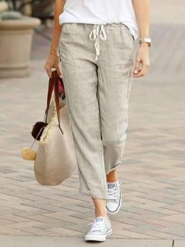 Fashion Casual Pure Lacing Pants
