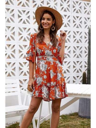Fashion Casual Print V neck Half sleeve Backless Skater Dresses