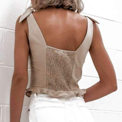 Fashion Sexy Pure Square collar Stringy selvedge Vests
