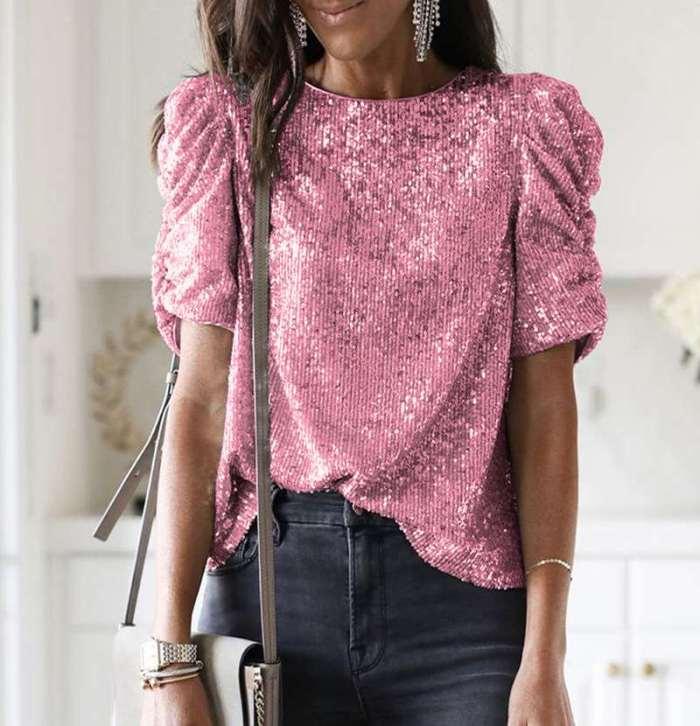 Pure Round neck Short sleeve Paillette T-Shirts