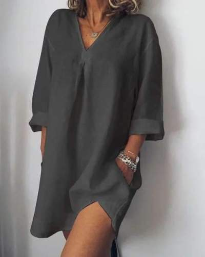 Casual Loose Pure V neck Point Long sleeve Shift Dresses