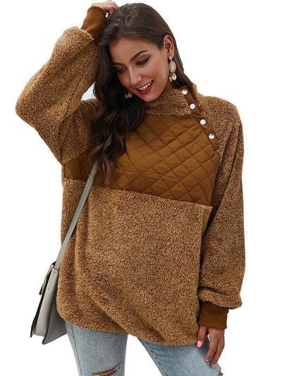 Cute suede fashion long sleeve high neck women Sweatshirts