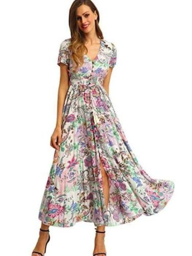Print V neck Short sleeve Maxi Dresses